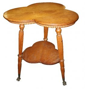 American 2-tier Clover Table With Glass Ball & Claw