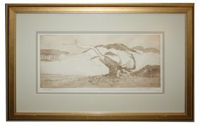 "Paul A. Feldhouse Pen & Ink Under Glass ""Driftwood"""