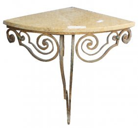 Italian Iron Art Deco Corner Console With Marble
