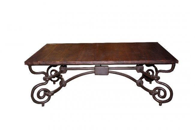 110 rustic coffee table with scrolled wrought iron bas lot 110 Rustic iron coffee table