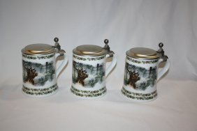 Lot Of 3 German Seltmann Porcelain Beer Steins