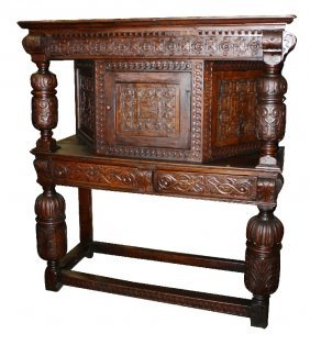 Jacobean court cupboard in heavily carved oak lot 99 for M furniture gallery new orleans