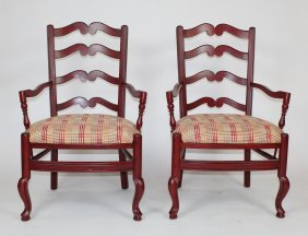 Pair Of French Style Red Ladder Back Armchairs