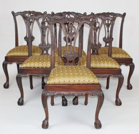 Set Of 6 Chippendale Style Mahogany Side Chairs