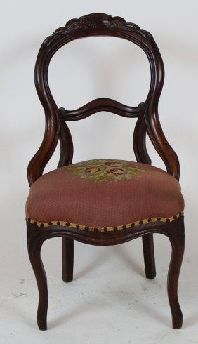 American Victorian Side Chair With Needlepoint