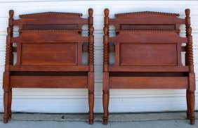 Pair Of American Mahogany Spindle Twin Beds