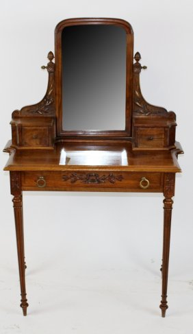 French Louis Xvi Style Vanity Table In Walnut