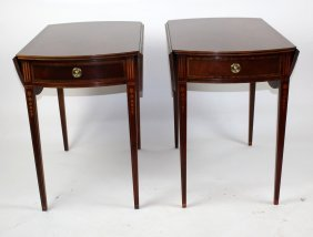 Pair Of Baker Mahogany Pembroke Tables With Drawer
