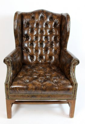 Tufted Wing Back Leather Armchair