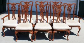 Set Of 8 Chippendale Mahogany Chairs