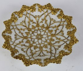 Meissen Porcelain Bowl With Gilt Leaves