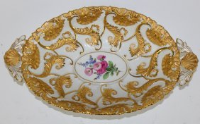 Meissen Porcelain Oval Dish With Gilt Overlay