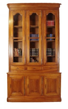 Grand Scale French Louis Philippe Bookcase In Walnut.
