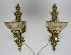 Pair Of Gilt Bronze & Alabaster Wall Sconces
