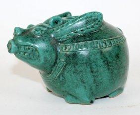 Green Glazed Pottery Rabbit Form Teapot