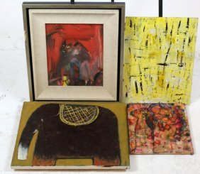 Lot Of 4 Modern Abstract Expressionistic Paintings