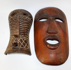Lot Of 2 African Carved Wooden Masks