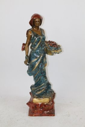 Polychrome Finish Bronze Woman With Basket Of Apples