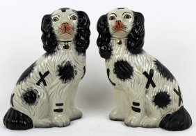 Pair Black & White Staffordshire Style Dogs