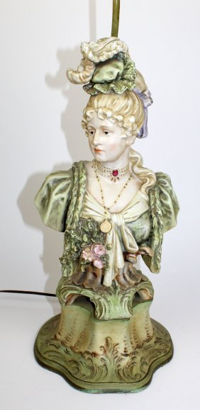 Bisque Bust Of Victorian Woman Made Into Lamp