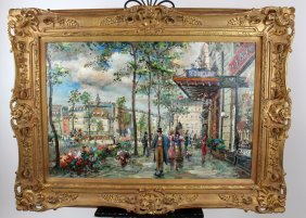 Oil On Canvas Paris Street Scene