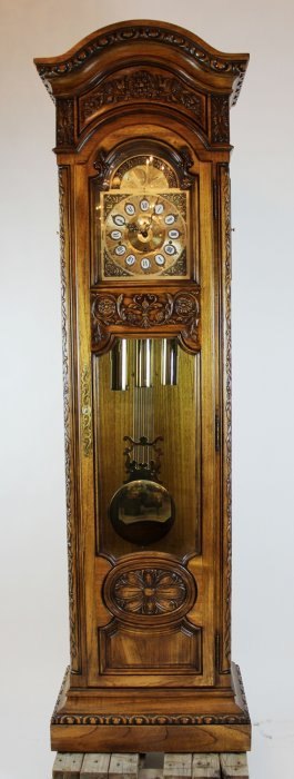 Howard Miller Grandfather Clock In Ornate Carved Case