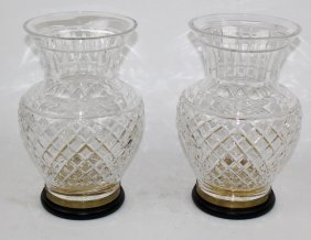 Pair Cut Crystal Vases On Brass Stands