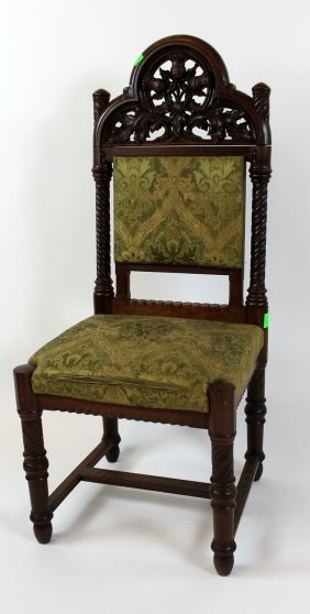 French Gothic Carved Walnut Side Chair