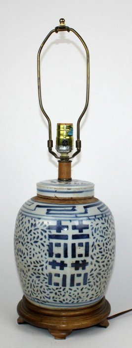 Chinese Blue & White Porcelain Ginger Jar Lamp