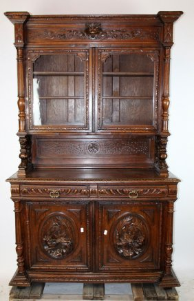 French Louis Xiii Carved Oak Buffet Deux Corps