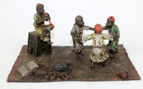 Cold Painted Bronze Boys Dancing On Rug