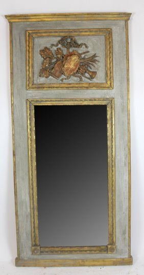 French Trumeau Mirror With Musical Attributes