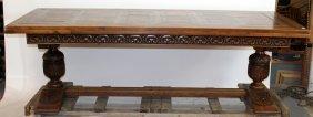 French Renaissance Parquet Top Table On Barrel Legs