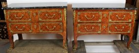 Pair Of Italian Louis Xvi Style Marquetry Commodes