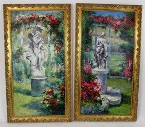 Companion Pair Of Oil On Canvas Garden Scenes