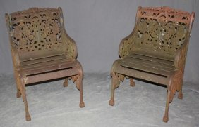 Pair American Cast Iron Garden Arm Chairs