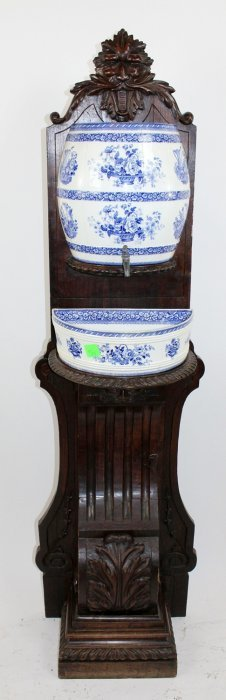 19th C Porcelain Lavabo Mounted On Walnut Stand