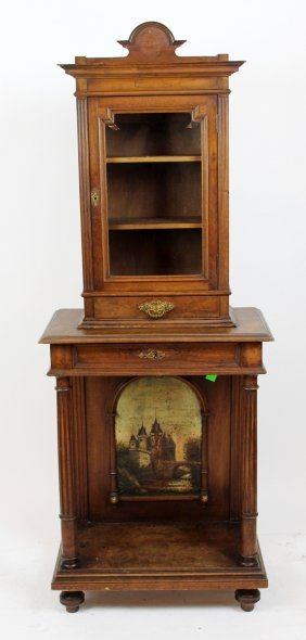 French Walnut Wine Cabinet With Painting