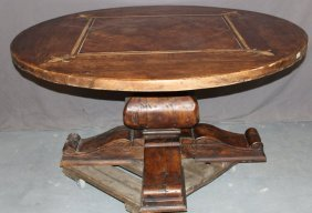 French Rustic Round Pedestal Dining Table