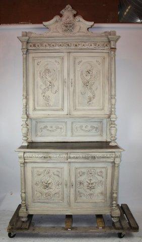 French Renaissance Style Painted Oak Buffet
