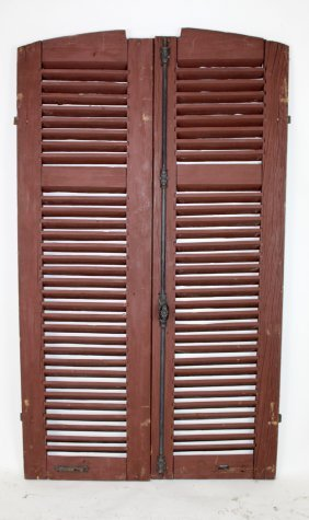Pair Of Vintage French Painted Wood Shutters