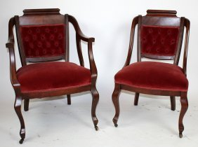 Set Of 2 American Victorian Mahogany Parlor Chairs