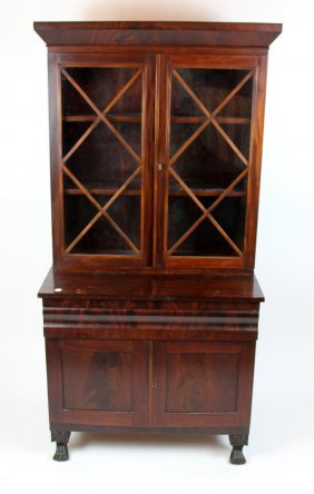 American Empire Flame Mahogany Bookcase