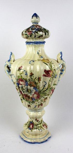 Italian Glazed Ceramic Double Handled Urn