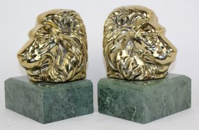Pair Of Brass Lion Head Bookends