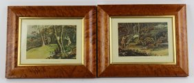 Pair Of Hunt Scenes In Birds Eye Maple Frames