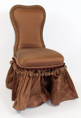 Silk Upholstered Vanity Chair With Ruffle Skirt