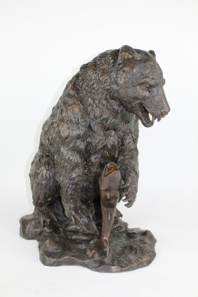 Bronze Bear With Fish Sculpture