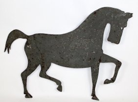 "French Stable Sign In Tin In The Form Of A Horse. 31""h"
