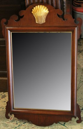 Sheraton Style Mahogany Mirror With Shell